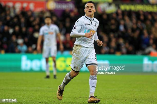 Roque Mesa of Swansea City in action during the Premier League match between Swansea City and Crystal Palace at The Liberty Stadium on December 23...