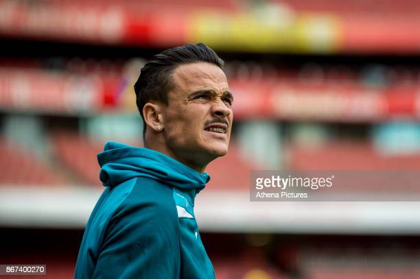Roque Mesa of Swansea City inspects the stadium ahead of the Premier League match between Arsenal and Swansea City at Emirates stadium on October 28...