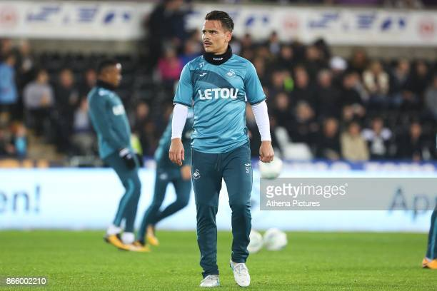 Roque Mesa of Swansea City prior to kick off of the Carabao Cup Fourth Round match between Swansea City and Manchester United at the Liberty Stadium...