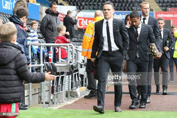 Roque Mesa of Swansea City prior to kick off of the Premier League match between Swansea City and Leicester City at The Liberty Stadium on October 21...
