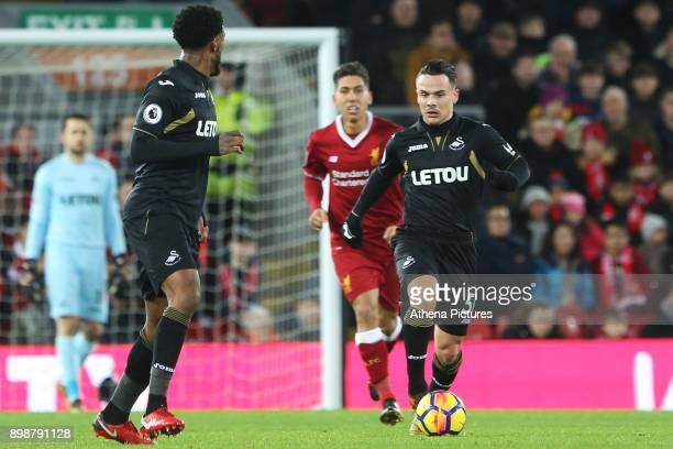 Roque Mesa of Swansea Citydthe Premier League match between Liverpool and Swansea City at Anfield on December 26 2017 in Liverpool England
