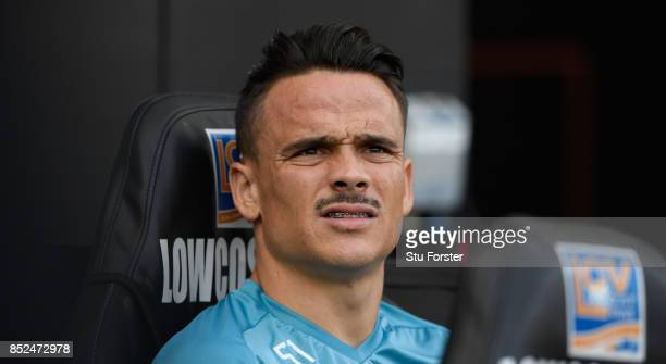Roque Mesa of Swansea during the Premier League match between Swansea City and Watford at Liberty Stadium on September 23 2017 in Swansea Wales