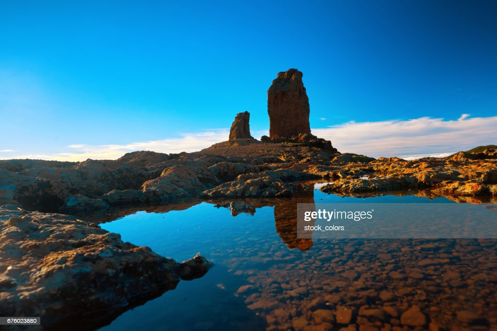 Roque Nublo view in the sunset time : Stock Photo