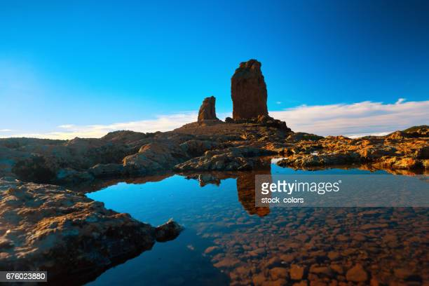 roque nublo view in the sunset time - las palmas de gran canaria stock pictures, royalty-free photos & images