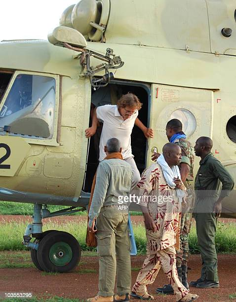 Roque Pasqual one of the two hostages released by AlQaeda's North African wing after nine months in captivity in Mali arrives at the military airport...