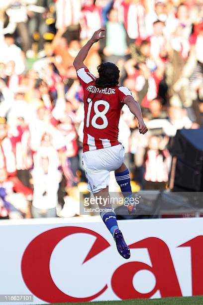 Roque Santa Cruz , from Paraguay, celebrate a goal, during the match between Brasil and Paraguay as parto of the group B of the Copa America...