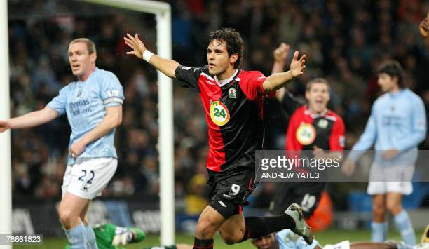 Roque Santa Cruz of Blackburn celebrates after scoring during a Premier league football match against Manchester City at The City of Manchester...