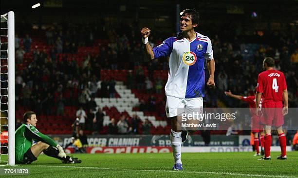 Roque Santa Cruz of Blackburn celebrates his goal during the Carling Cup Third round match between Blackburn Rovers and Birmingham City at Ewood Park...