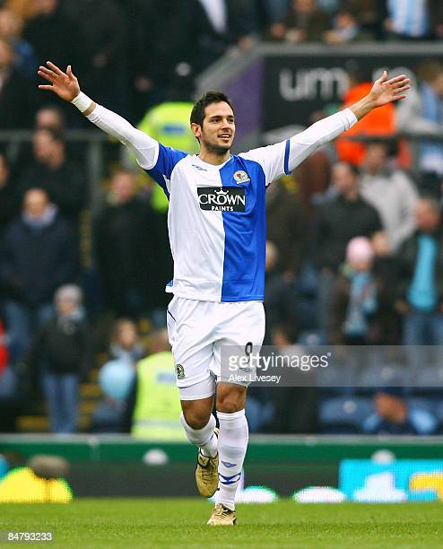Roque Santa Cruz of Blackburn Rovers celebrates after scoring the opening goal during the FA Cup 5th Round match sponsored by e.on between Blackburn...