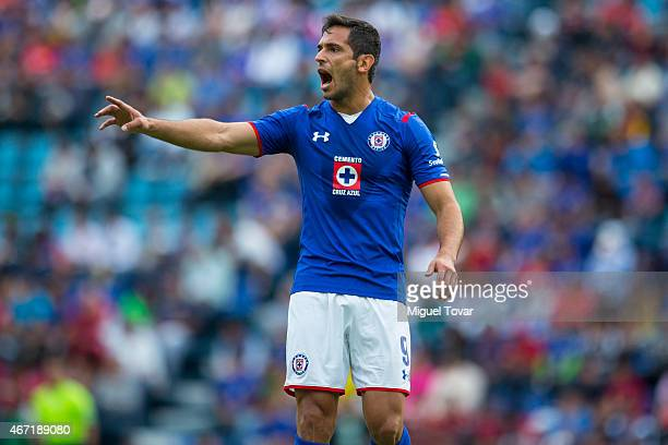 Roque Santa Cruz of Cruz Azul shouts to his teammates during a match between Cruz Azul and Tijuana as part of 11th round Clausura 2015 Liga MX at...