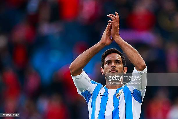 Roque Santa Cruz of Malaga CF waves Malaga CF fans after loosing the La Liga match between Club Atletico de Madrid and Malaga CF at Vicente Calderon...