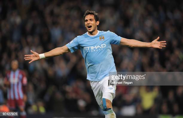 Roque Santa Cruz of Manchester City celebrates scoring to make it 2-1 during the Carling Cup 4th Round match at the City of Manchester Stadium on...