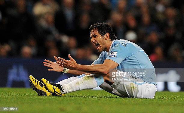 Roque Santa Cruz of Manchester City shows his fustration during the Barclays Premiership match between Manchester City and Everton at the City of...