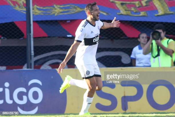 Roque Santa Cruz of Olimpia celebrates after scoring the second goal of his team during a match between Olimpia and Cerro Porteño as part of the 17th...