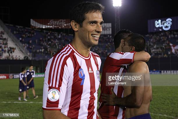 Roque Santa Cruz of Paraguay celebrates after a match between Paraguay and Bolivia as part of the 15th round of the South American Qualifiers at...