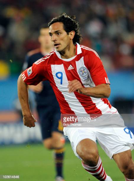 Roque Santa Cruz of Paraguay during the 2010 FIFA World Cup South Africa Quarter Final match between Paraguay and Spain at Ellis Park Stadium on July...
