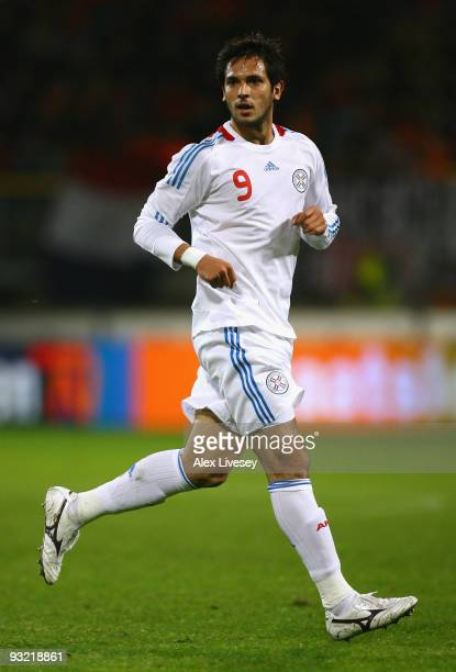 Roque Santa Cruz of Paraguay during the International Friendly match between Netherlands and Paraguay at the Abe Lenstra Stadium on November 18, 2009...