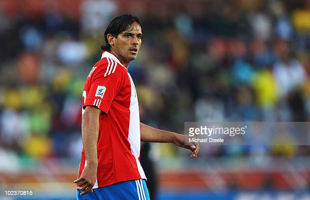 Roque Santa Cruz of Paraguay looks on during the 2010 FIFA World Cup South Africa Group F match between Paraguay and New Zealand at Peter Mokaba...