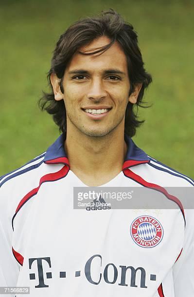 Roque Santa Cruz poses during the Bundesliga 1st Team Presentation of FC Bayern Munich at Bayern's training ground Saebener Strasse on August 2 2006...