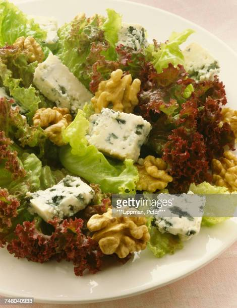 Roquefort and walnut curly lettuce salad