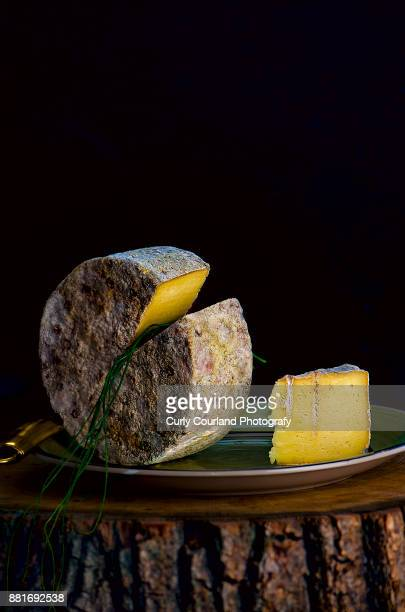 roquefort cheese head with chives, served on the wooden cross section, chiaroscuro lighting, dark moody style - roquefort cheese stock photos and pictures