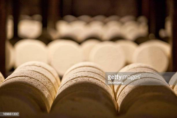 Roquefort Societe 150years cheeses sit on maturing racks in caves at the LebrouRoquefort plant part of Groupe Lactalis SA in Roquefort France on...