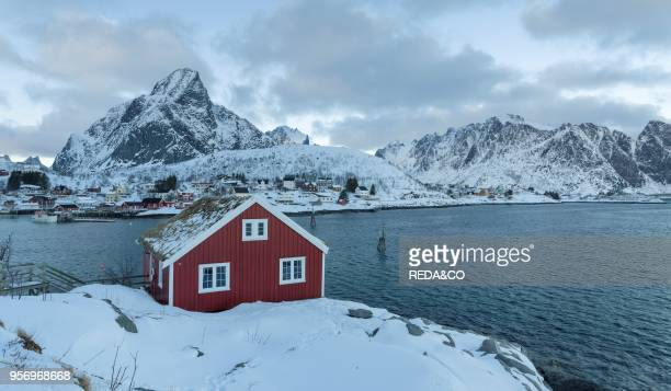 Rorbu traditial fishing huts now used as hotel in the village Reine on the island Moskenesoya The Lofoten Islands in northern Norway during winter...