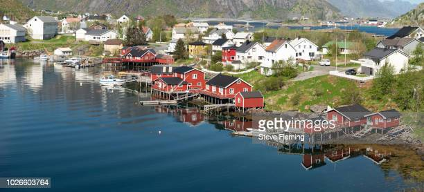 Rorbuer cabins by the fjord, Reine, Lofoten Islands, Norway.