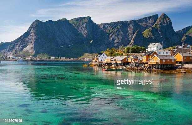 rorbuer huts near reine, lofoten islands, norway - northern norway stock pictures, royalty-free photos & images