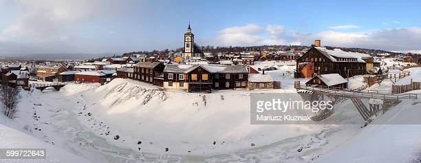 Roros old mining town church hill winter panorama