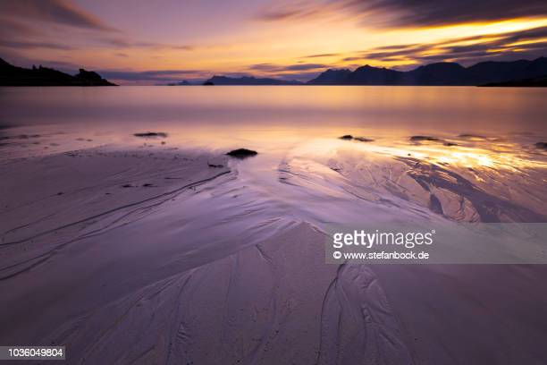 rorvikstranda lofoten norway ii - sonnenuntergang stock pictures, royalty-free photos & images