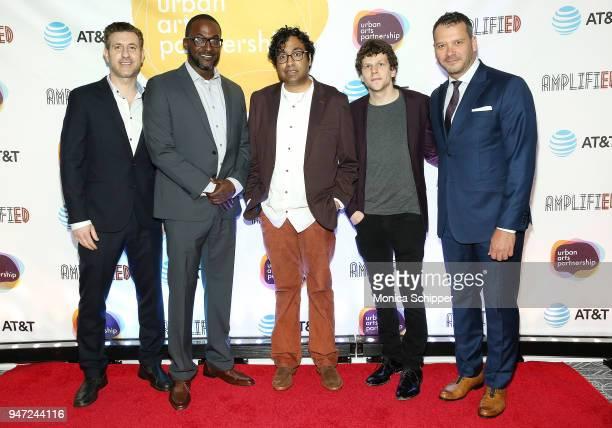 Rory Albanese Mike Yard Hari Kondabolu Jesse Eisenberg and Philip Courtney attend the Urban Arts Partnership's AmplifiED Gala at The Ziegfeld...