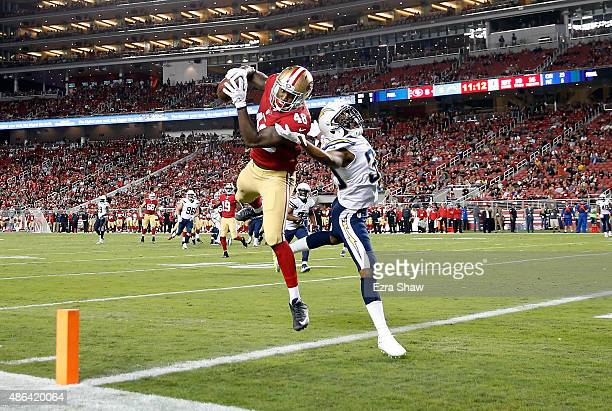 Rory Anderson of the San Francisco 49ers catches a touchdown pass while covered by Richard Crawford of the San Diego Chargers during their NFL...