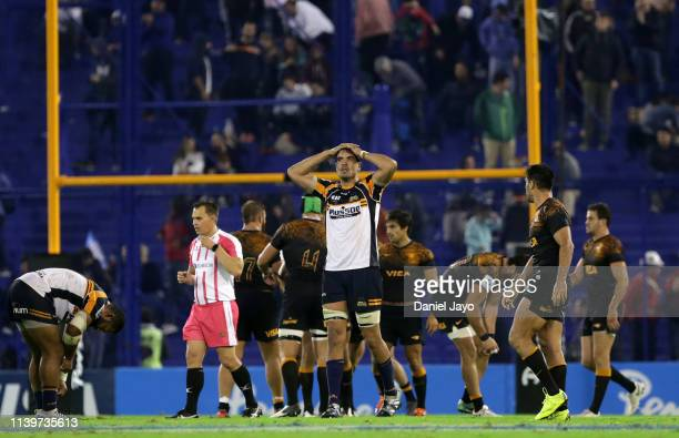 Rory Arnold of Brumbies reacts at the end of a Super Rugby Rd 11 match between Jaguares and Brumbies at Jose Amalfitani Stadium on April 27, 2019 in...