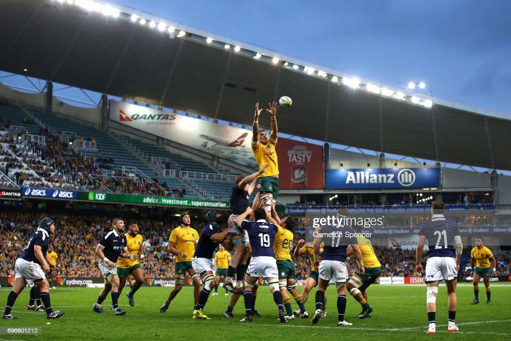 Rory Arnold of the Wallabies takes a lineout ball during the International Test match between the Australian Wallabies and Scotland at Allianz Stadium on June 17, 2017 in Sydney, Australia.