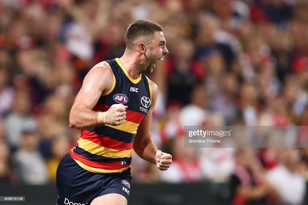 Rory Atkins of the Crows celebrates kicking a goal during the round five AFL match between the Sydney Swans and the Adelaide Crows at Sydney Cricket Ground on April 20, 2018 in Sydney, Australia.