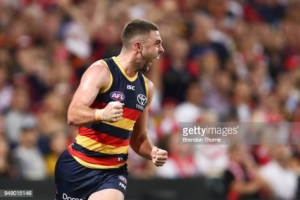 Rory Atkins of the Crows celebrates kicking a goal during the round five AFL match between the Sydney Swans and the Adelaide Crows at Sydney Cricket...