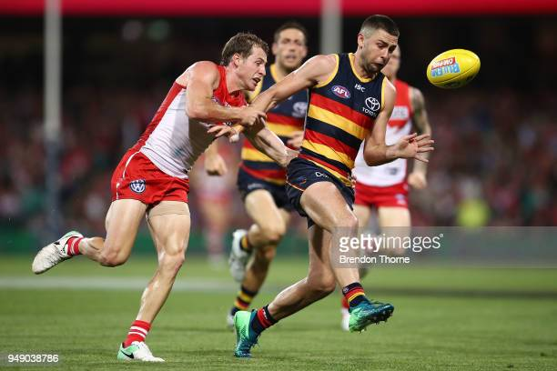 Rory Atkins of the Crows contests the ball during the round five AFL match between the Sydney Swans and the Adelaide Crows at Sydney Cricket Ground...
