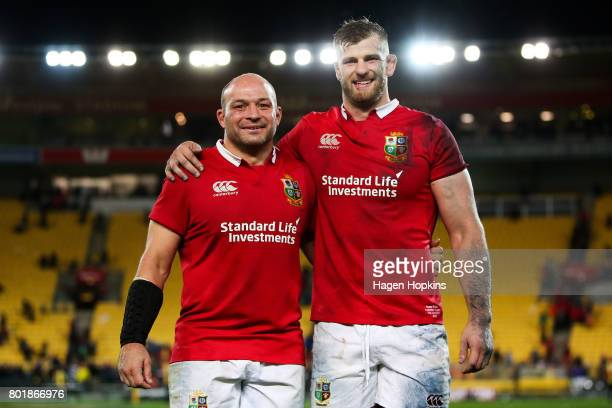 Rory Best and George Kruis of the Lions pose after the match between the Hurricanes and the British Irish Lions at Westpac Stadium on June 27 2017 in...
