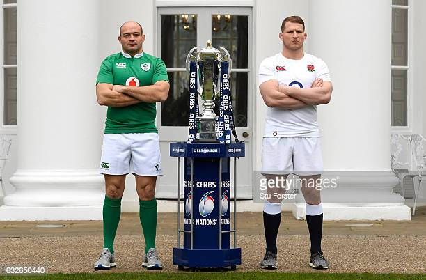 Rory Best Captain of Ireland and Dylan Hartley Captain of England pose with The Six Nations Trophy during the 2017 RBS Six Nations launch at The...