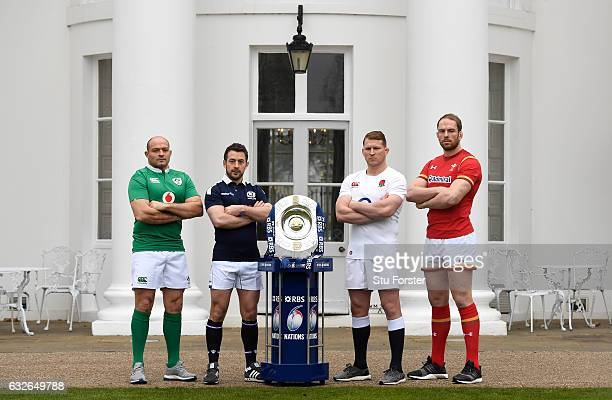 Rory Best Captain of Ireland Greig Laidlaw Captain of Scotland Dylan Hartley Captain of England and Alun Wyn Jones Captain of Wales pose with The...