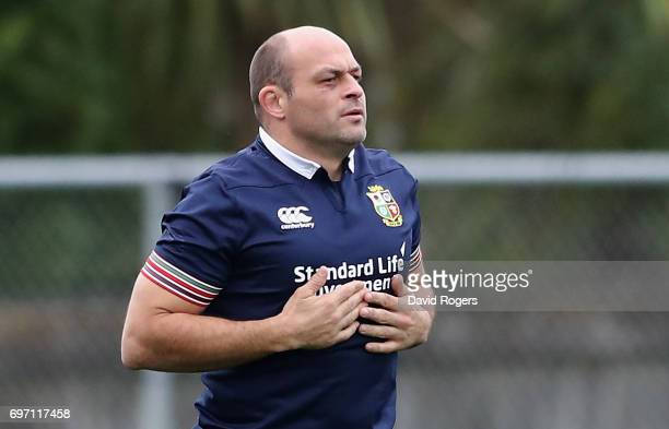 Rory Best looks on during the British Irish Lions training session at Beetham Park on June 18 2017 in Hamilton New Zealand