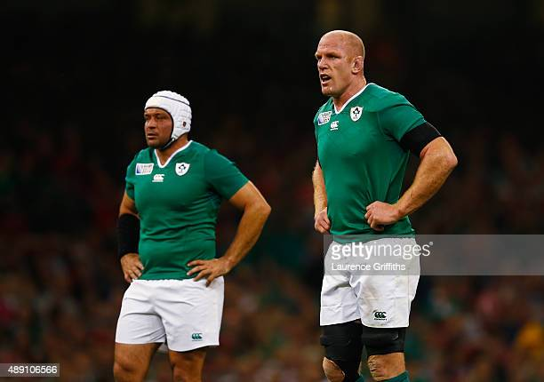 Rory Best of Ireland and Paul O'Connell of Ireland look on during the 2015 Rugby World Cup Pool D match between Ireland and Canada at the Millennium...
