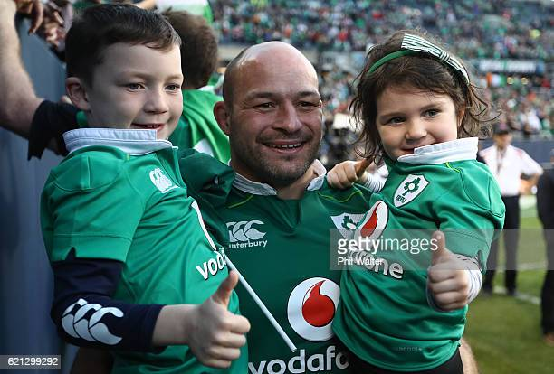 Rory Best of Ireland celebrates following his team's 4029 victory during the international match between Ireland and New Zealand at Soldier Field on...