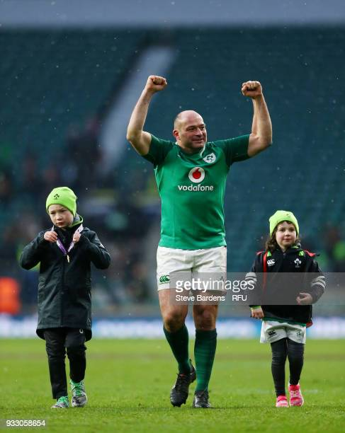 Rory Best of Ireland celebrates victory after the NatWest Six Nations match between England and Ireland at Twickenham Stadium on March 17 2018 in...