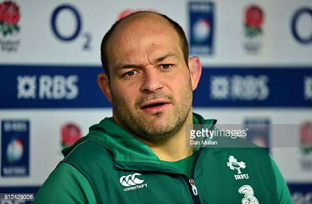 Rory Best of Ireland faces the media during a press conference following the Ireland Captains Run at Twickenham Stadium on February 26 2016 in London...