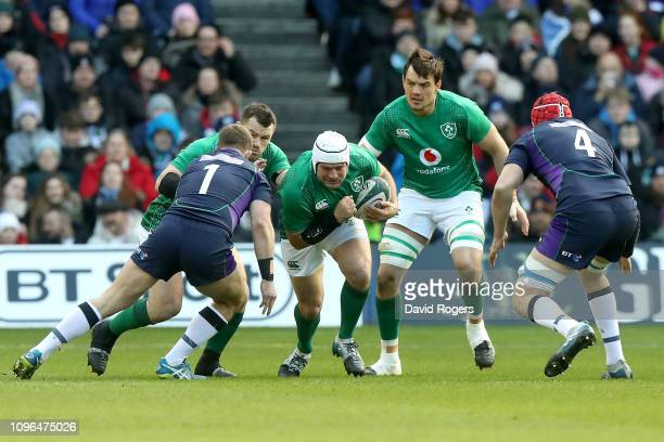Rory Best of Ireland on the charge during the Guinness Six Nations match between Scotland and Ireland at Murrayfield on February 9, 2019 in...
