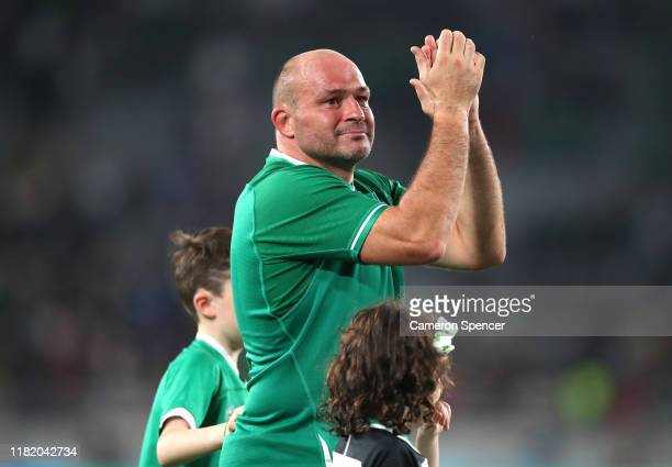 Rory Best of Ireland shows appreciation to the fans following defeat in the Rugby World Cup 2019 Quarter Final match between New Zealand and Ireland...
