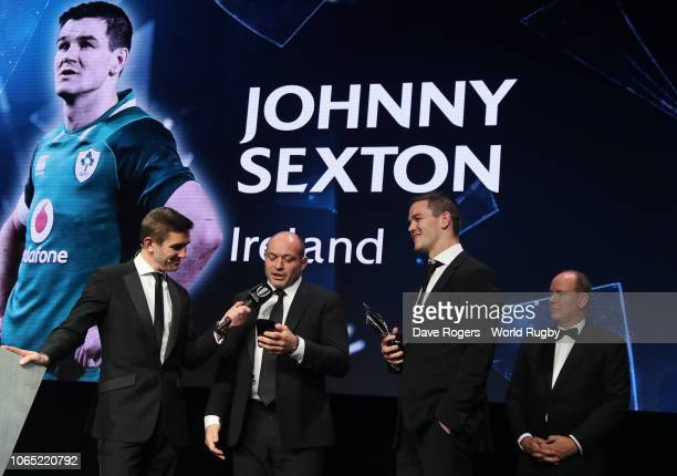 Rory Best of Ireland speaks on behalf Johnny Sexton of Ireland after he receives the World Rugby via Getty Images Men's 15s Player of the Year award...