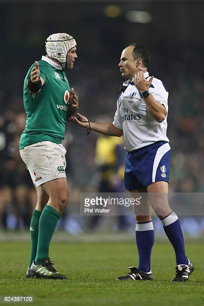 Rory Best of Ireland speaks with referee Jaco Peyper during the international rugby match between Ireland and the New Zealand All Blacks at Aviva...